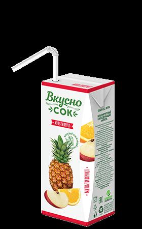 Упаковка «ВкусноСок», вкус - Мультифрукт. Объем 200 мл.