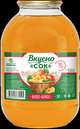Напиток сокосодержащий яблочно-абрикосовый в стеклянной банке 3 литра