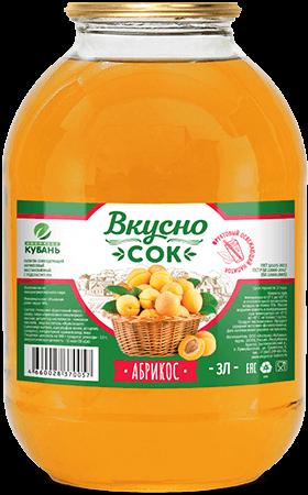 Напиток сокосодержащий абрикосовый в стеклянной банке 3 литра