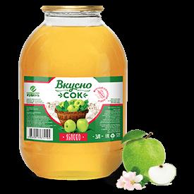 Напиток сокосодержащий яблочный в стеклянной банке 3 литра