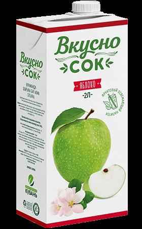 Упаковка «ВкусноСок», вкус - Яблоко. Объем 2 литра.