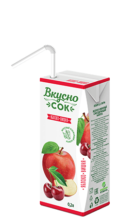 Упаковка «ВкусноСок», вкус - Вишня-Яблоко. Объем 200 мл.