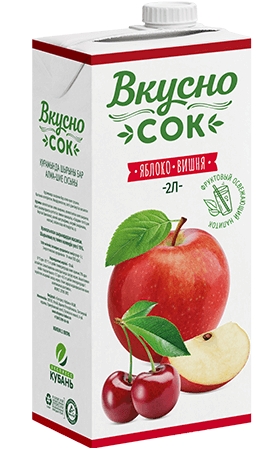 Упаковка «ВкусноСок», вкус - Вишня-Яблоко. Объем 2 литра.