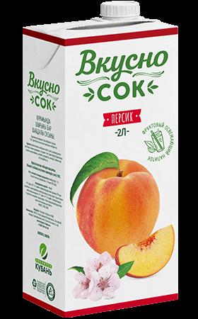 Упаковка «ВкусноСок», вкус - Персик. Объем 2 литра.
