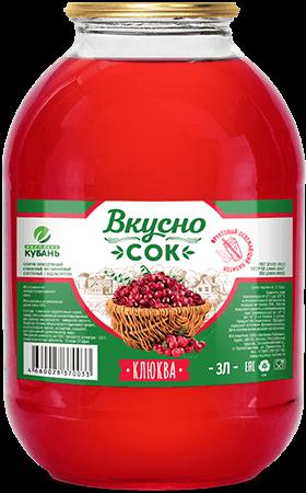 Напиток сокосодержащий клюквенный в стеклянной банке 3 литра
