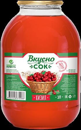 Напиток сокосодержащий кизиловый в стеклянной банке 3 литра