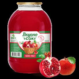 Напиток сокосодержащий яблочно-гранатовый в стеклянной банке 3 литра