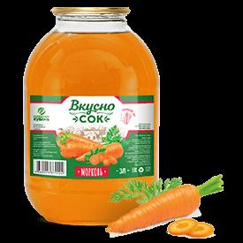 Напиток сокосодержащий морковный в стеклянной банке 3 литра
