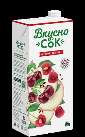 Упаковка «ВкусноСок», вкус - Вишня-Яблоко. Объем 1 литр.