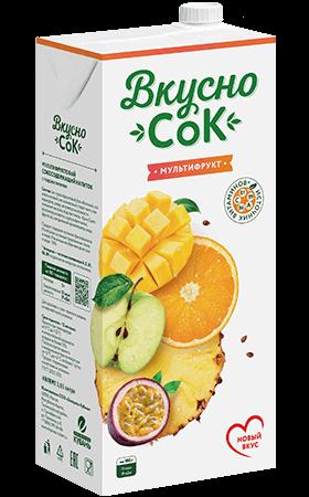 Упаковка «ВкусноСок», вкус - Мультифрукт. Объем 2 литра.